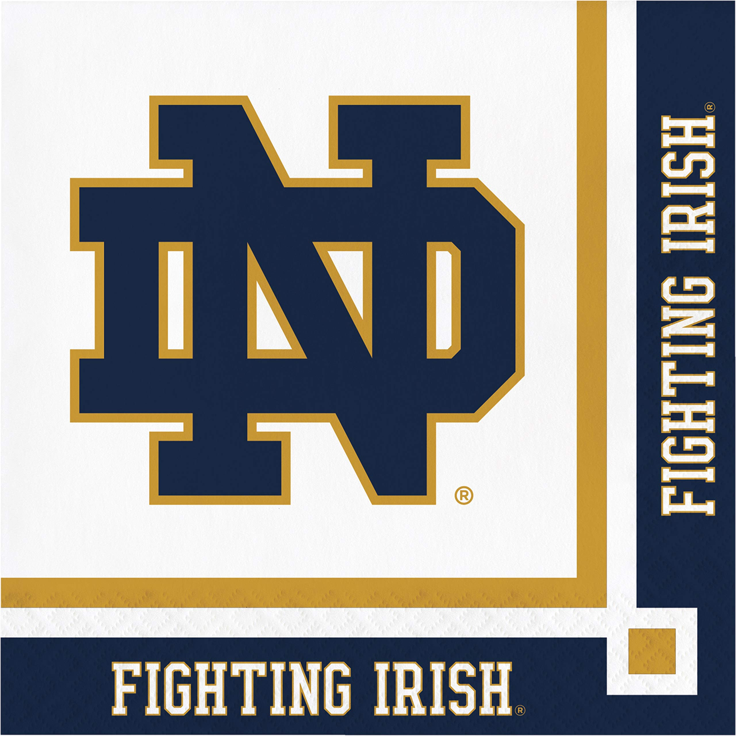 Creative Converting 333086case University of Notre Dame Beverage Napkins 5'' Blue