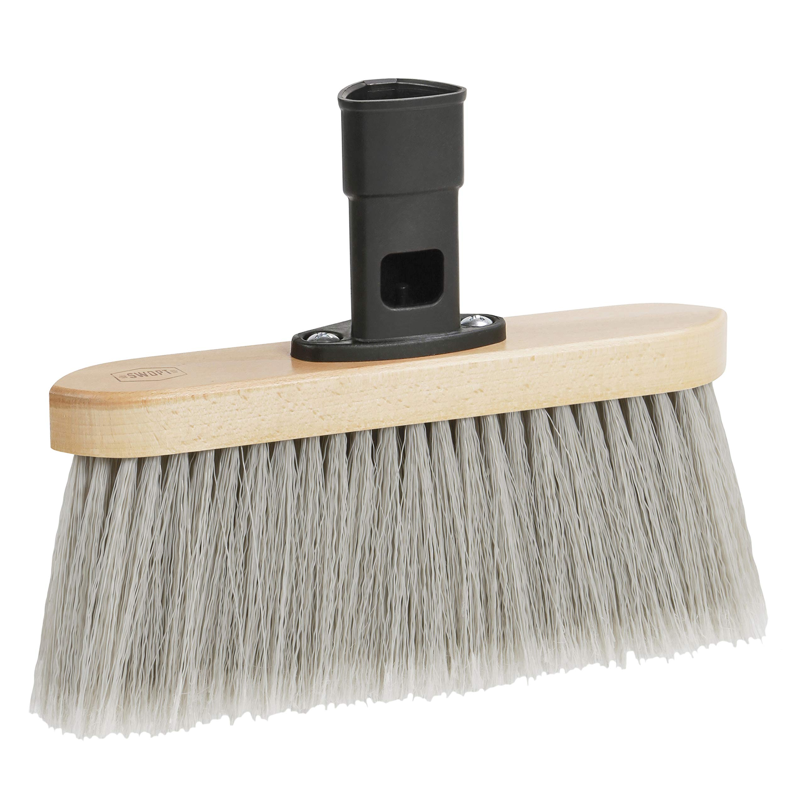 SWOPT Premium Smooth Surface Straight Broom Head – Straight Broom to Pick Up Fine Particles and Pet Hair – Interchangeable with Other SWOPT Products for More Efficient Cleaning and Storage, Head Only, Handle Sold Separately, 5120C6 by SWOPT