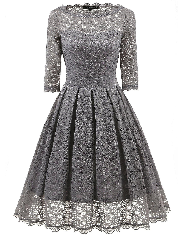 Quellfluss Women's 1950s Vintage Floral Lace Half Sleeve Cocktail Party Casual Swing Dress