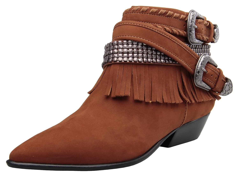 Carrano Myra Nubuck Leather Fringe Buckled Bootie B074ZM914J 5 B(M) US|Cinnamon