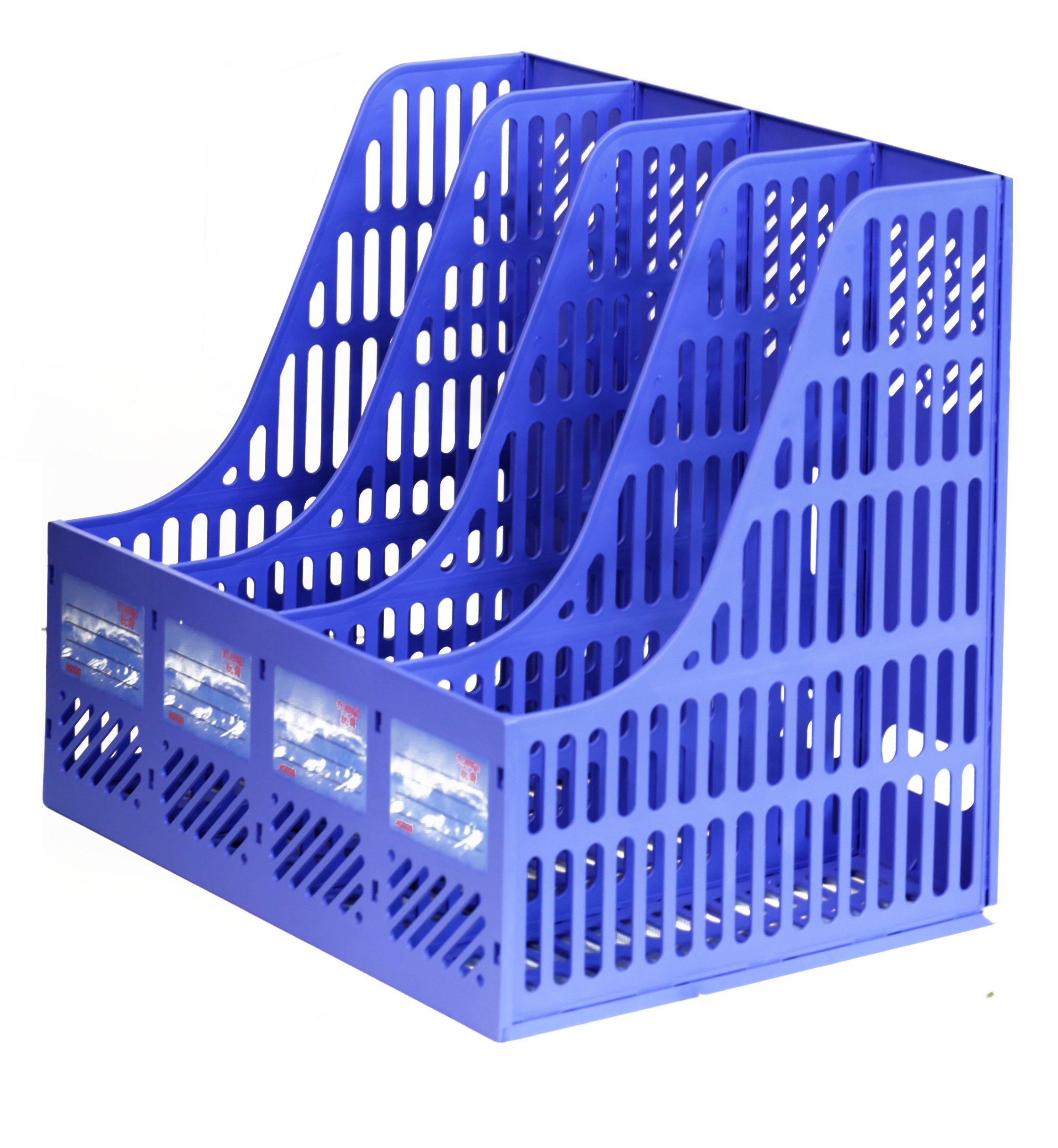 4 Slots, File Folder Organizer, Mail Organizer, File Organizer, Magazine Literature, Document Holder, Office School Home Desk File Holder, Rack Case Box Crate Organizer (2 Pack)