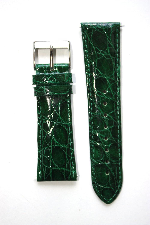 16 mm Forest Green Genuine Crocodile withクイックリリースピンfor Micheleスタイル  B004ZV01XQ