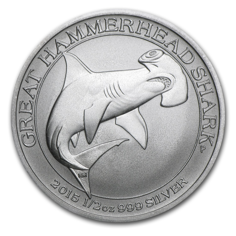 2015 AU Australia 1/2 oz Silver Great Hammerhead Shark BU 1/2 OZ Brilliant Uncirculated