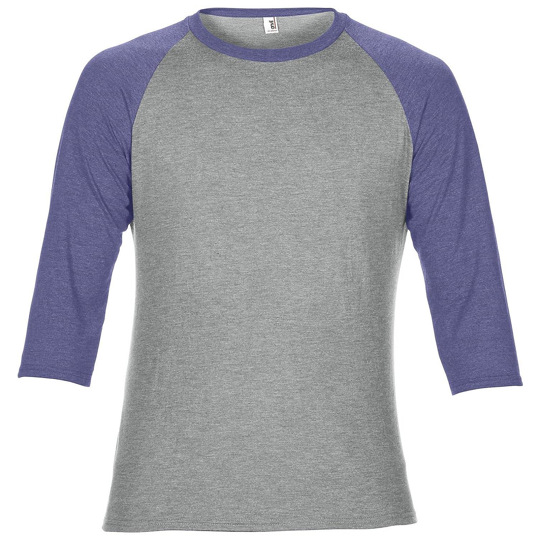 521c71cf Anvil Unisex Two Tone Tri-Blend 3/4 Sleeve Raglan T-Shirt: Amazon.co.uk:  Clothing