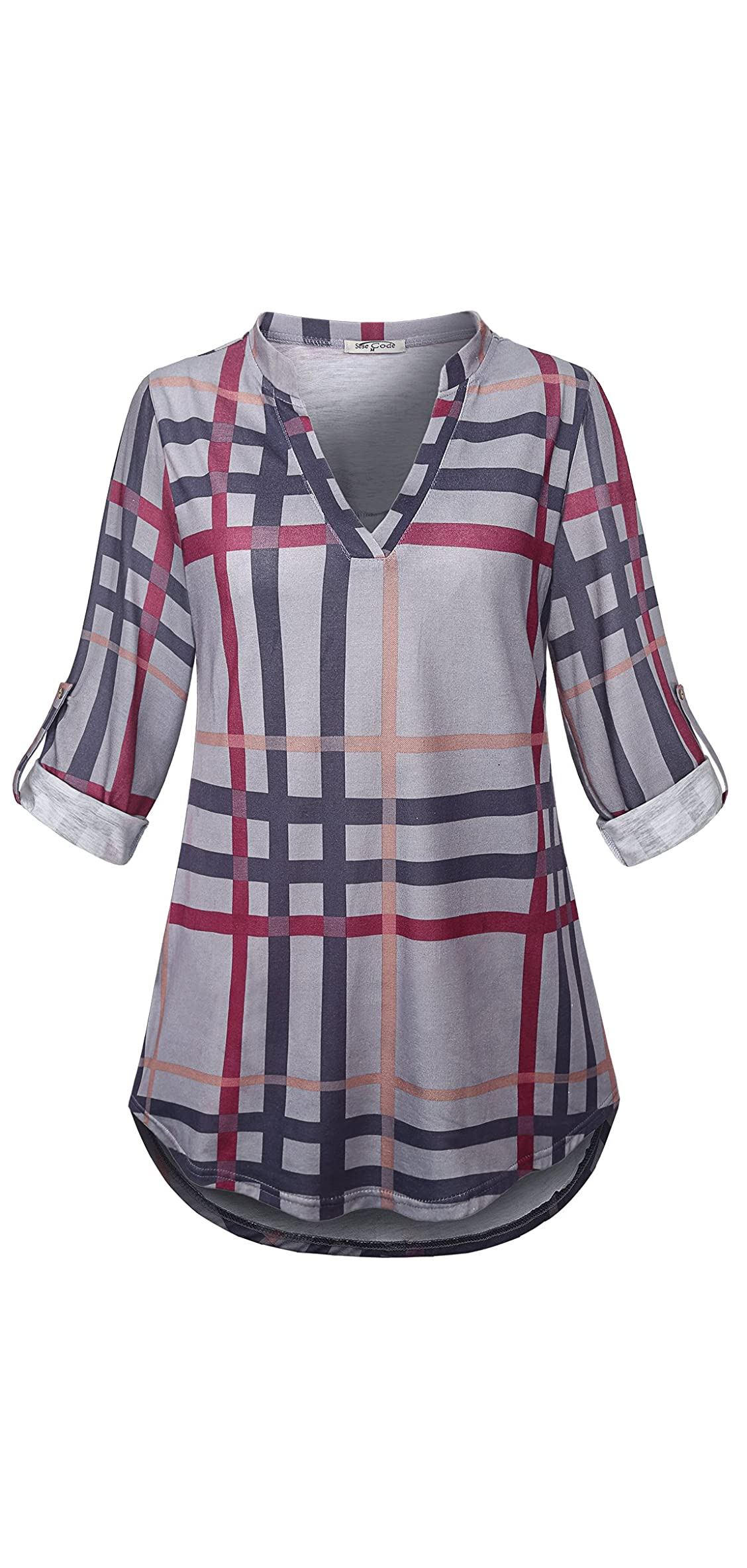 Womens / Roll Sleeve Shirt Notch Neck Loose Tops