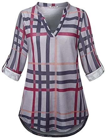 68bd98851e5 SeSe Code Plaid Tunic, Women Shirts For Leggings Modern Designer Hi Low Hem Soft  surroundings