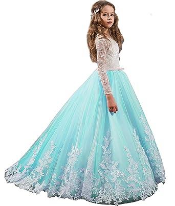 a3f48ca077b9 Girls Pageant Ball Gown Long Sleeve Tulle Princess Communion Flower Girl Dresses  Aqua US2