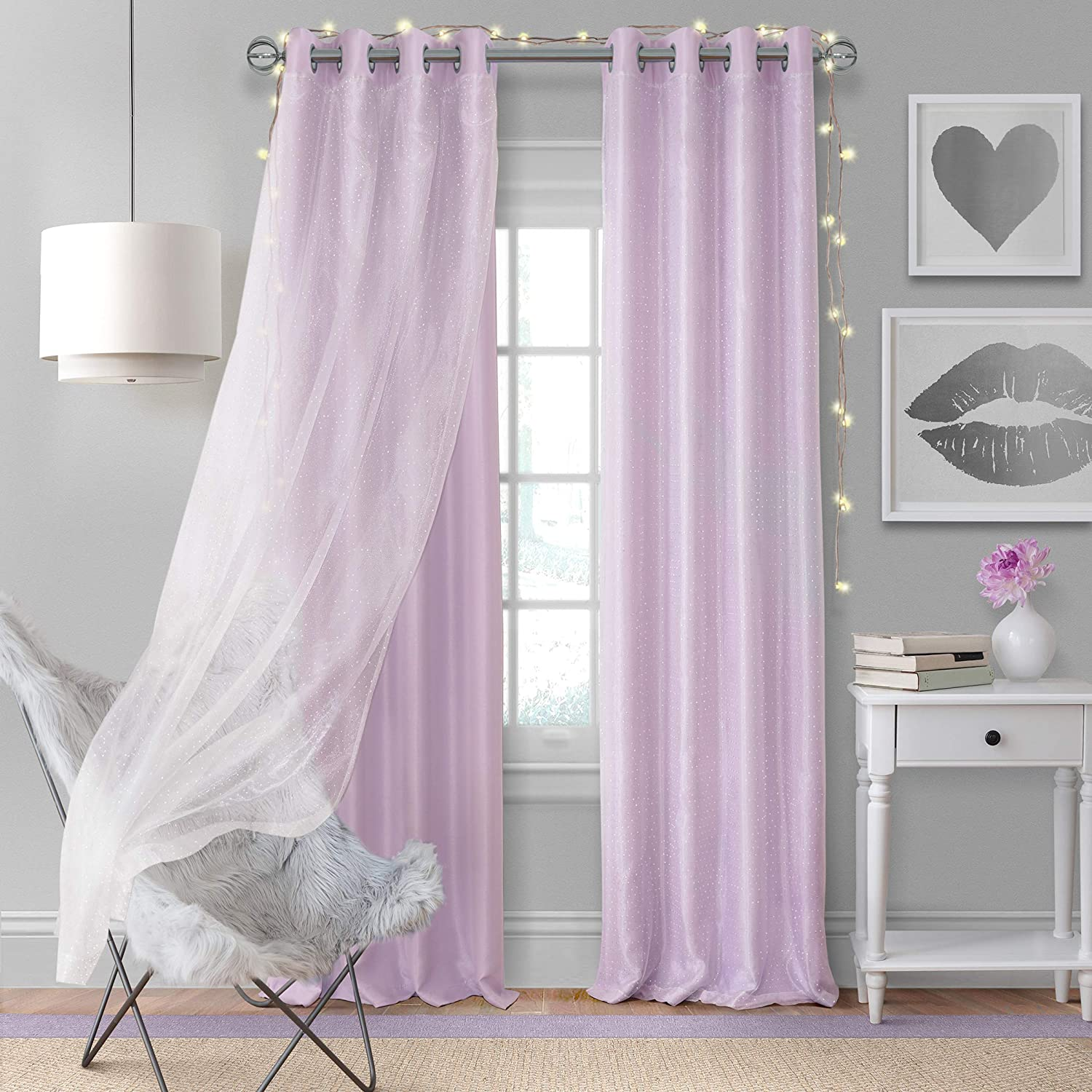 "Elrene Home Fashions Aurora Solid Faux Silk with Sheer Sparkle Overlay Room Darkening Window Curtain Panel, 52"" W x 95"" L (1, Lavender"