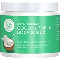 Exfoliating Body Scrub Exfoliator with Hydrating Coconut Milk and Detoxifying Dead Sea Salt, Moisturizing Exfoliating Scrub by Pure Body Naturals, 12 Ounce (Label Varies)