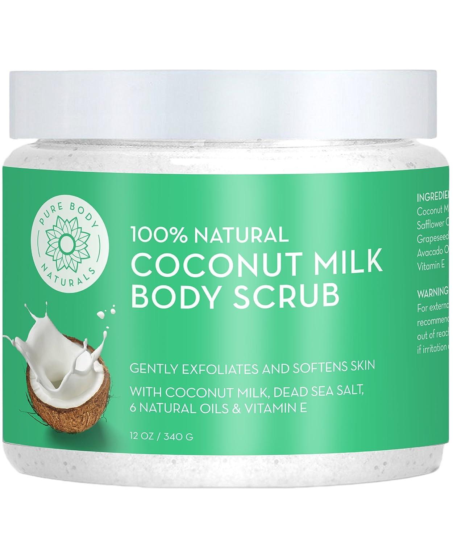 Exfoliating Body Scrub Exfoliator with Hydrating Coconut Milk and Detoxifying Dead Sea Salt, Moisturizing Exfoliating Scrub by Pure Body Naturals, 12 Ounce (Label Varies)