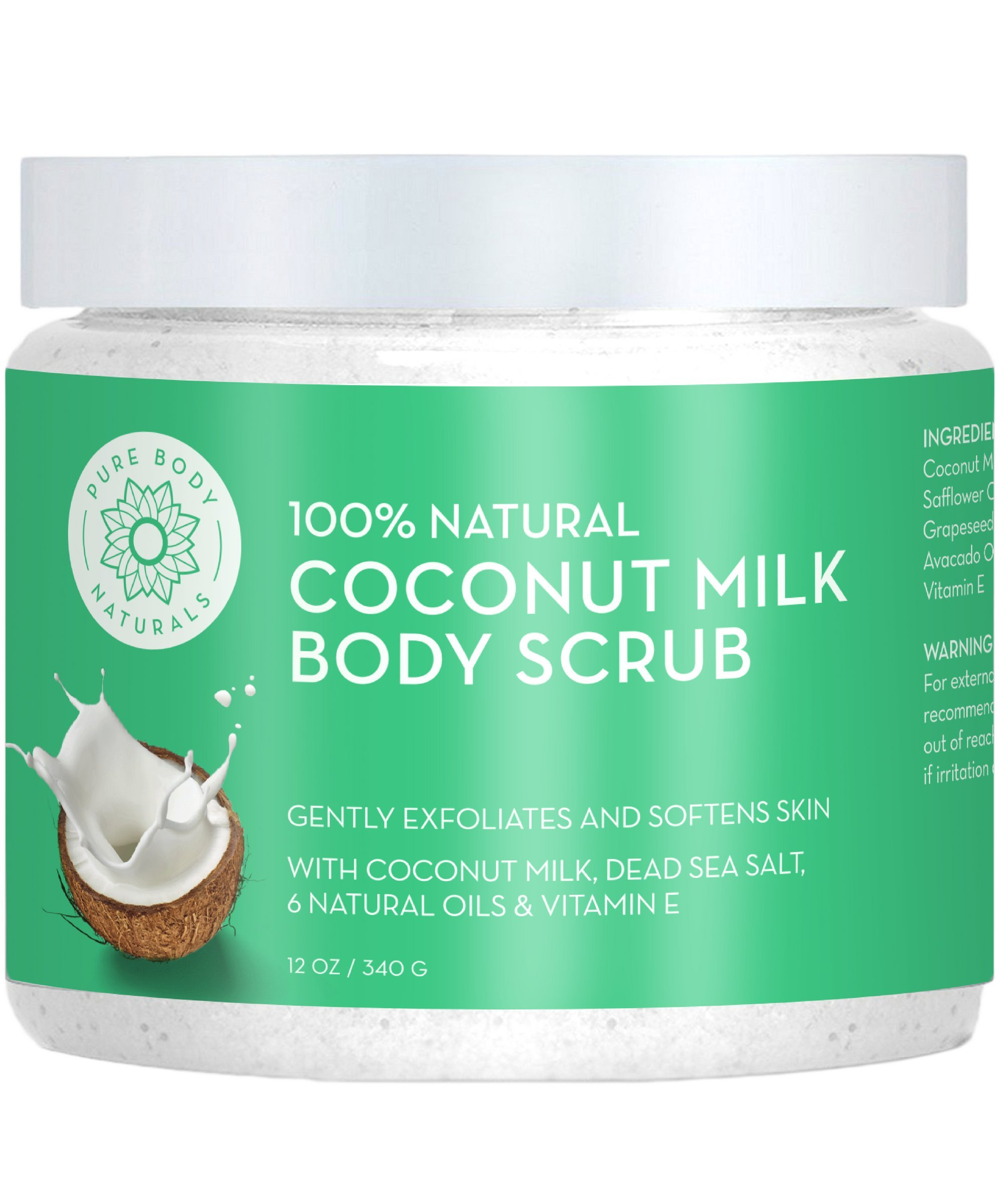 Exfoliating Body Scrub with Hydrating Coconut Milk and Detoxifying Dead Sea Salt, Moisturizing Face Scrub and Mask by Pure Body Naturals, 12 Ounce (Label Varies)