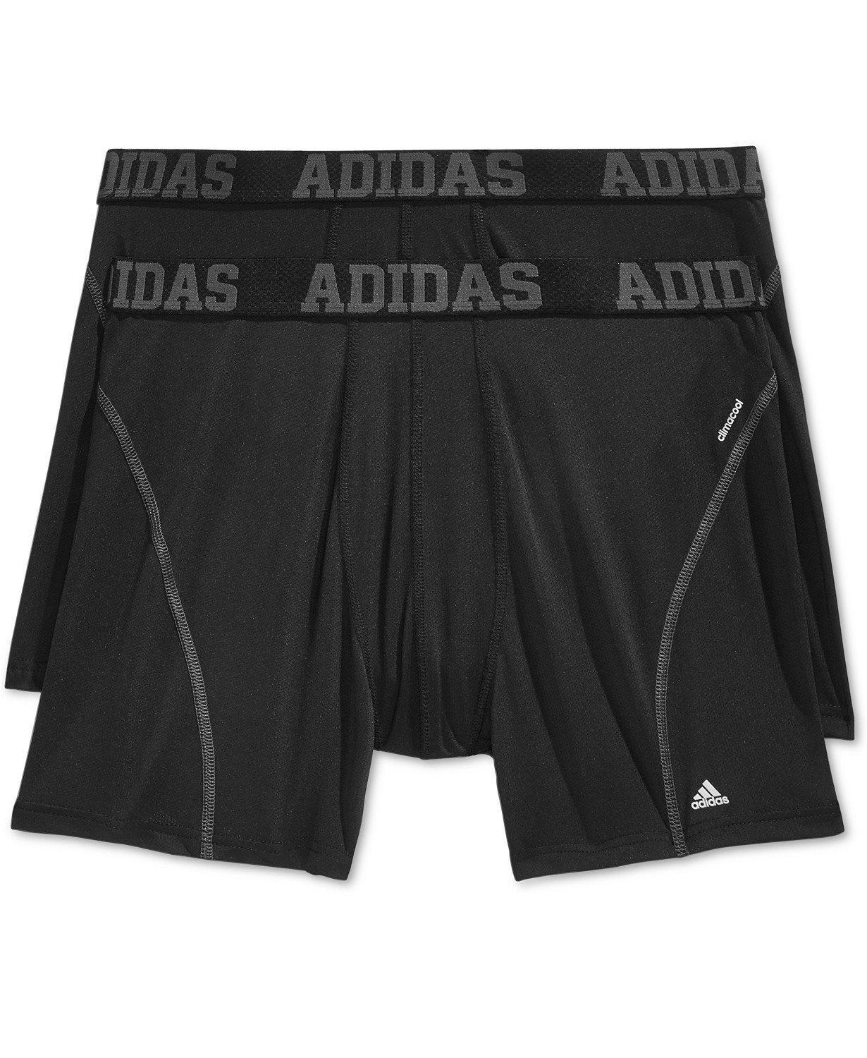 adidas Men's Sport Performance Climacool Boxer Brief Underwear (2-Pack), Black/Thunder Grey, Medium by adidas