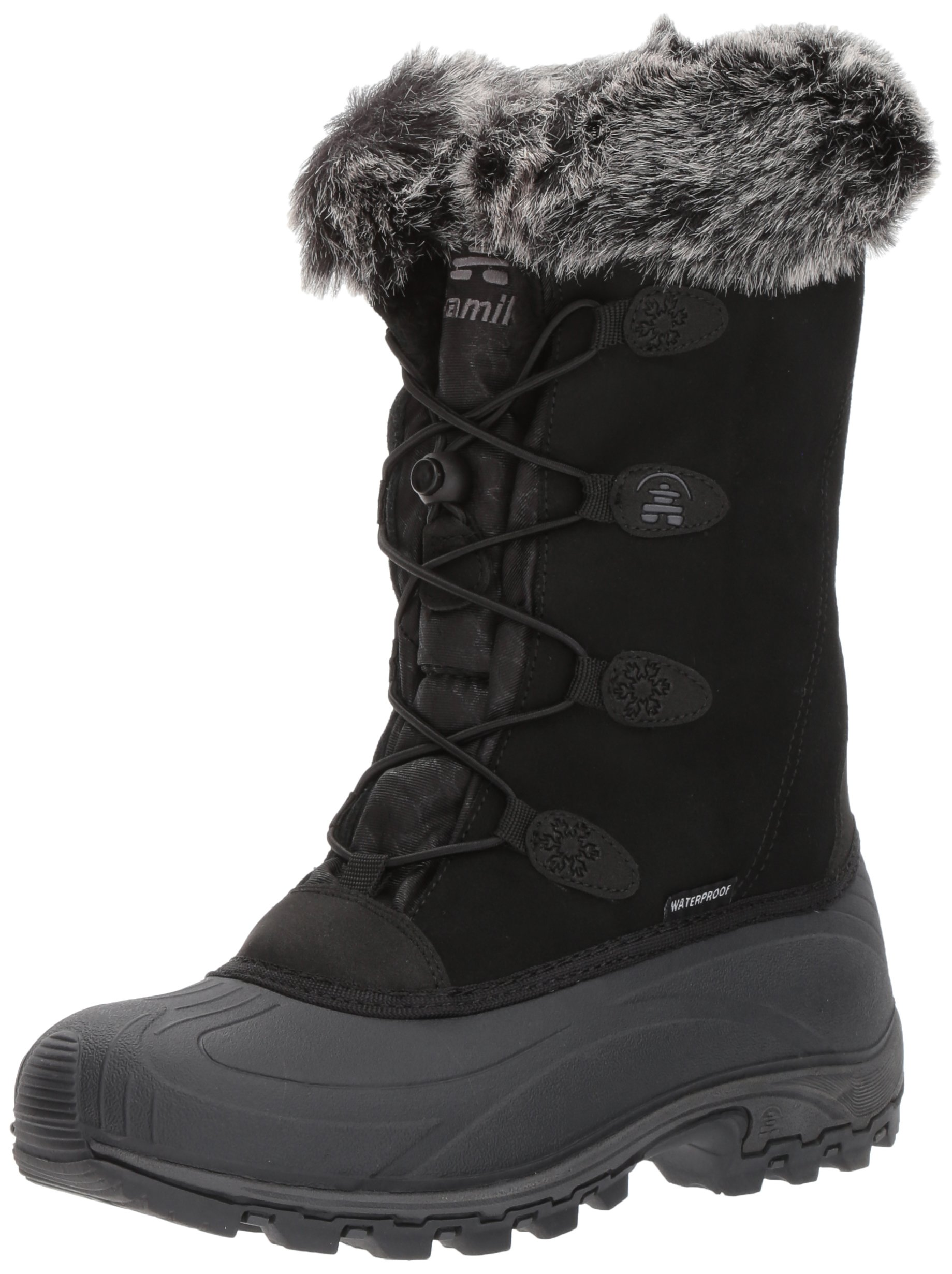 Kamik Women's Momentums Snow Boot, Black Suede, 9 D US