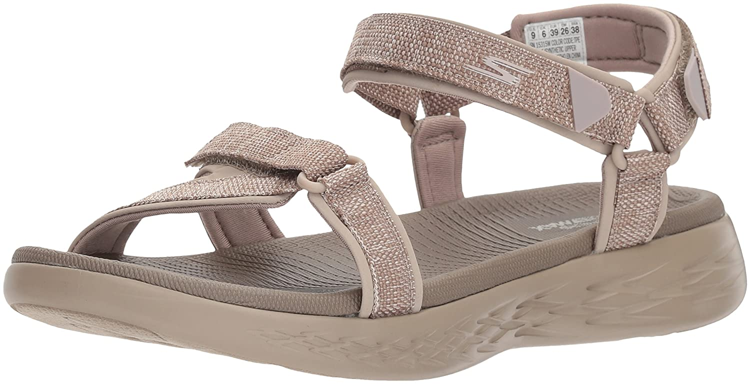 Skechers Women's on-The-Go 600-15315 Wide Sport Sandal B072T3M18L 7 W US|Taupe
