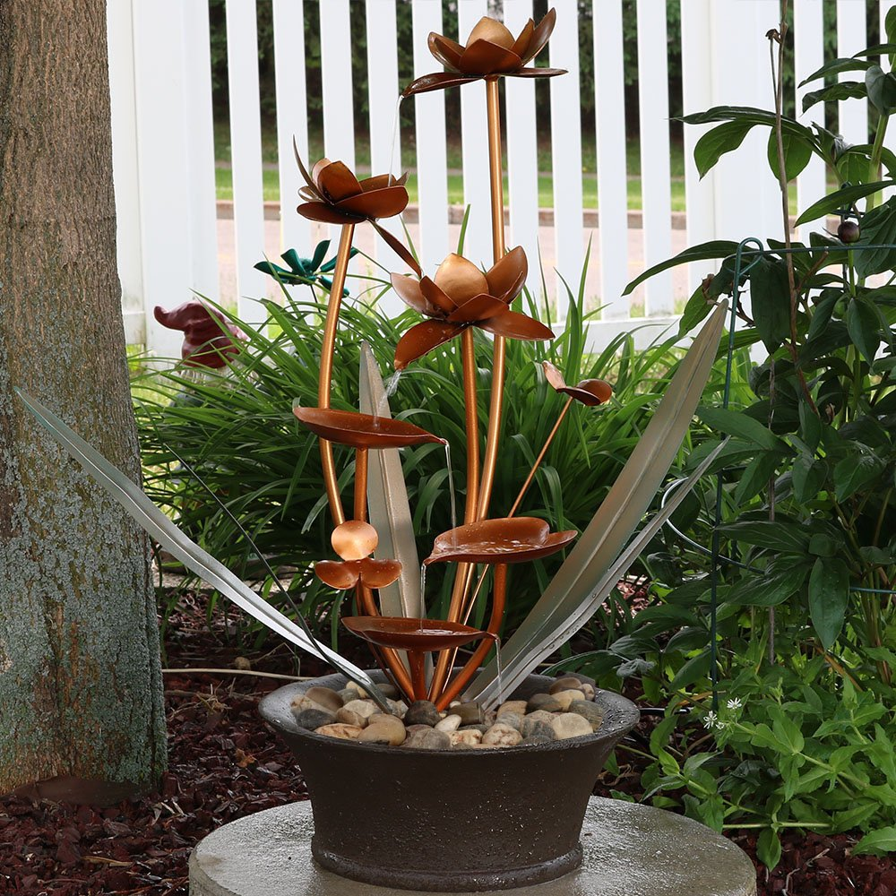 Sunnydaze Copper Flower Blossoms Outdoor Garden Water Fountain, 28 Inch Tall