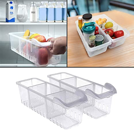 Freezer Refrigerator Organizer Trays Bins Pantry Cabinet Storage Box Baskets CF