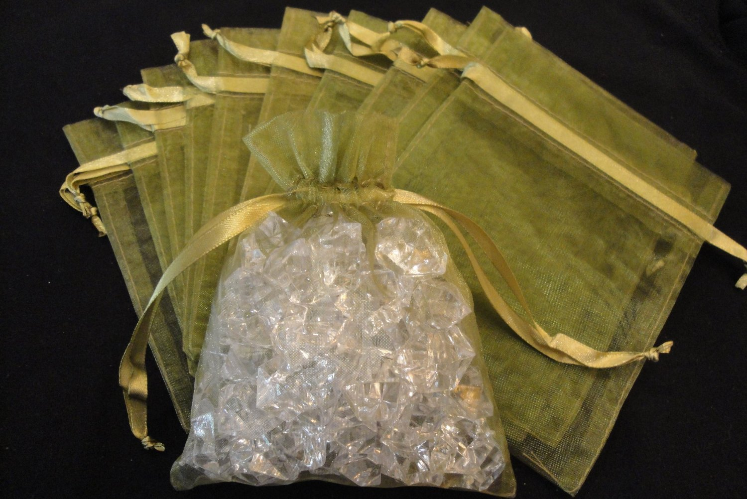100pcs Moss Green Sheer Organza Drawstring Pouches Jewelry Party Wedding Favor Package Bags 3X4