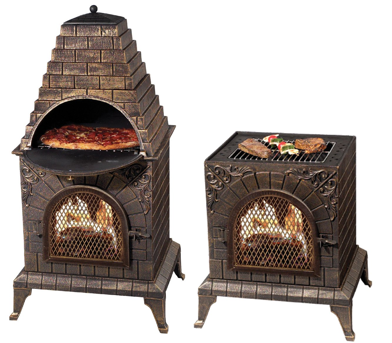 Deeco DM-0039-IA-C Aztec Allure Cast Iron Pizza Oven Chiminea by Deeco Consumer Products