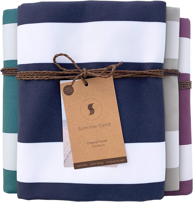 SummerSand Microfiber Beach Towel Sand Free 63x31.5in - Odorless Quick Dry Towel for Gym and Sports - Lightweight Travel Towel Microfiber Towel XXL - Large Swim Towel – Deep Blue