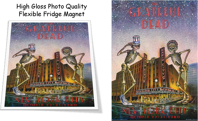 "Grateful Dead 1980 Concert Poster 3""x4"" Flexible Fridge Magnet, High Gloss Photo Finish"