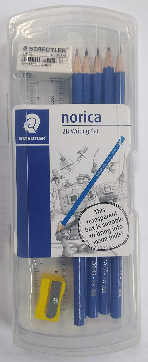 Staedtler Norica 2B Pencil, Eraser, Sharpener, Ruler Set in Plastic Box Staedtler Germany
