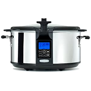 BELLA (14124) 6.5 Quart Programmable Searing Slow Cooker with Locking Lid, Chrome