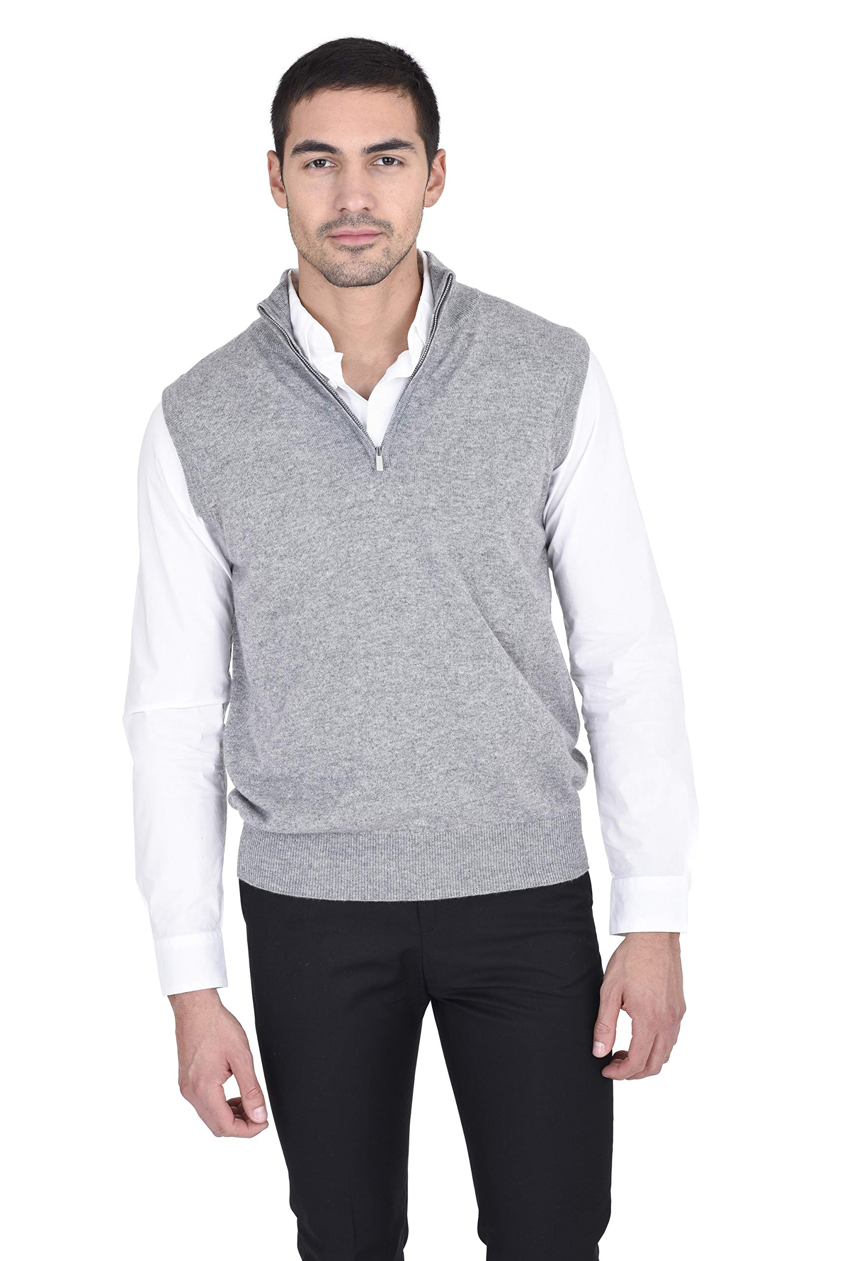 State Fusio Men's Quarter Zip Up Mock Neck Sweater Vest Cashmere Merino Wool Lightweight Sleeveless Pullover (XX-Large, Heather Grey) by State Fusio