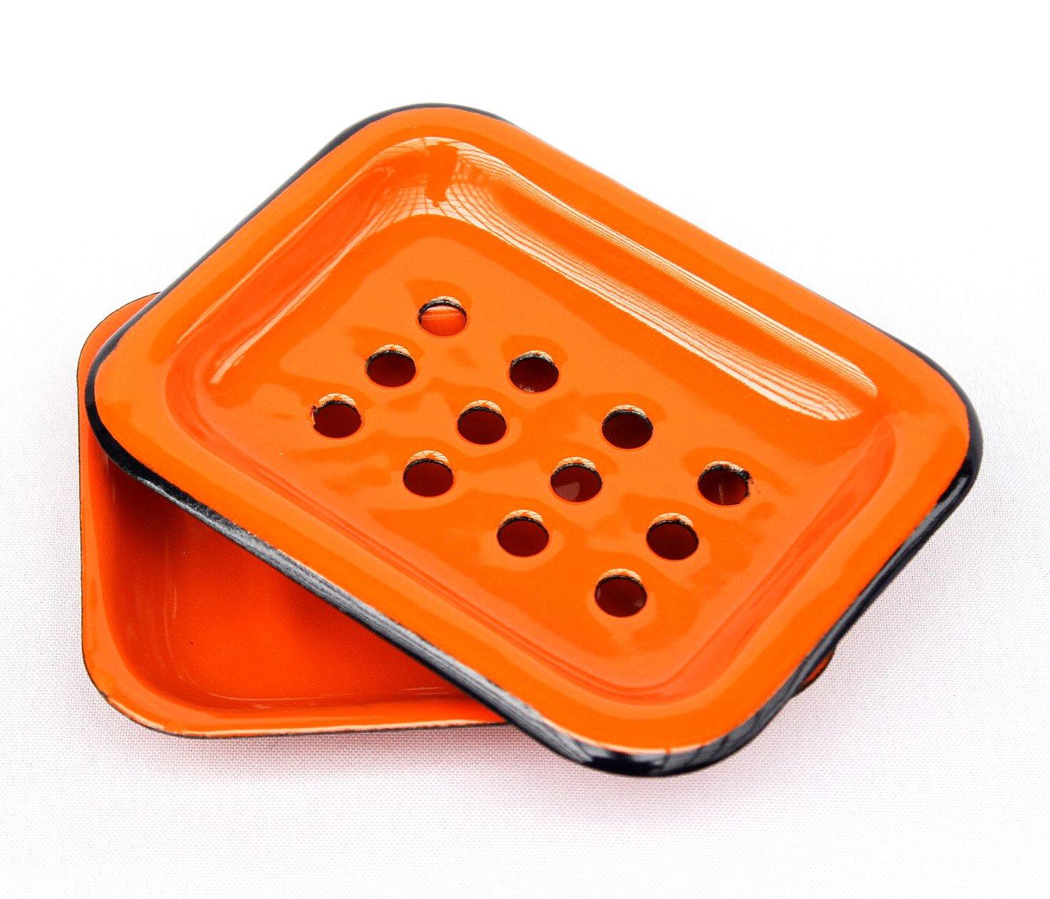 DanDiBo Seifenhalter 617A Orange Seifenschale 13 cm emailliert Landhaus Emaille Seifensp
