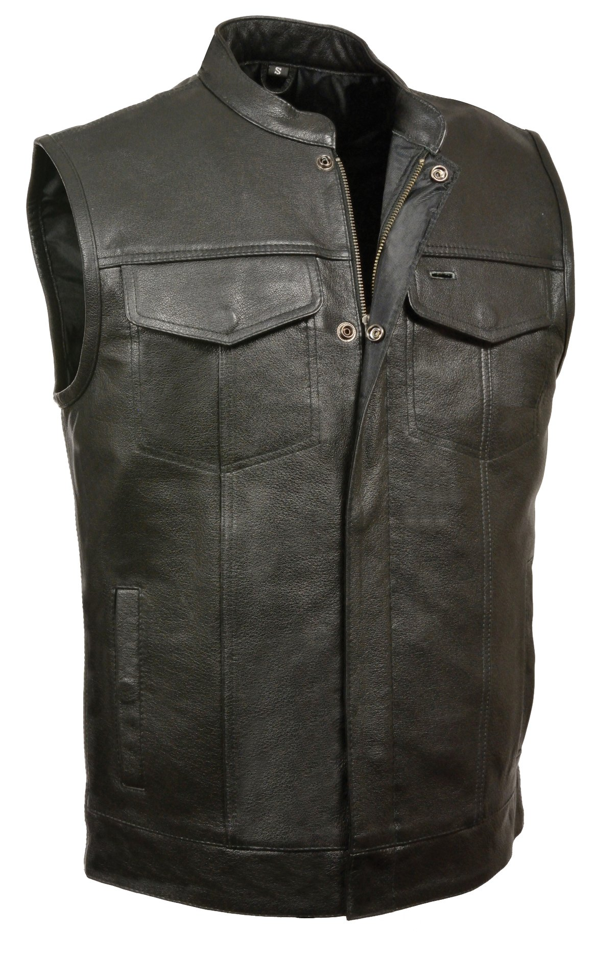 SOA Men's Basic Leather Motorcycle Vest Zipper & Snap Closure w/2 Inside Gun Pockets & Single Panel Back (XXX-Large, 1'' Collar) by Milwaukee Leather