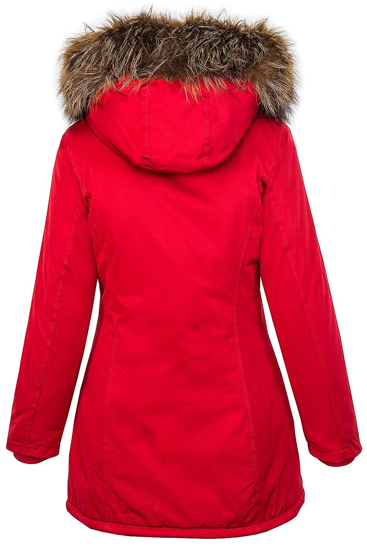 con cappuccio D-204 invernale Giacca da donna con vera pelliccia