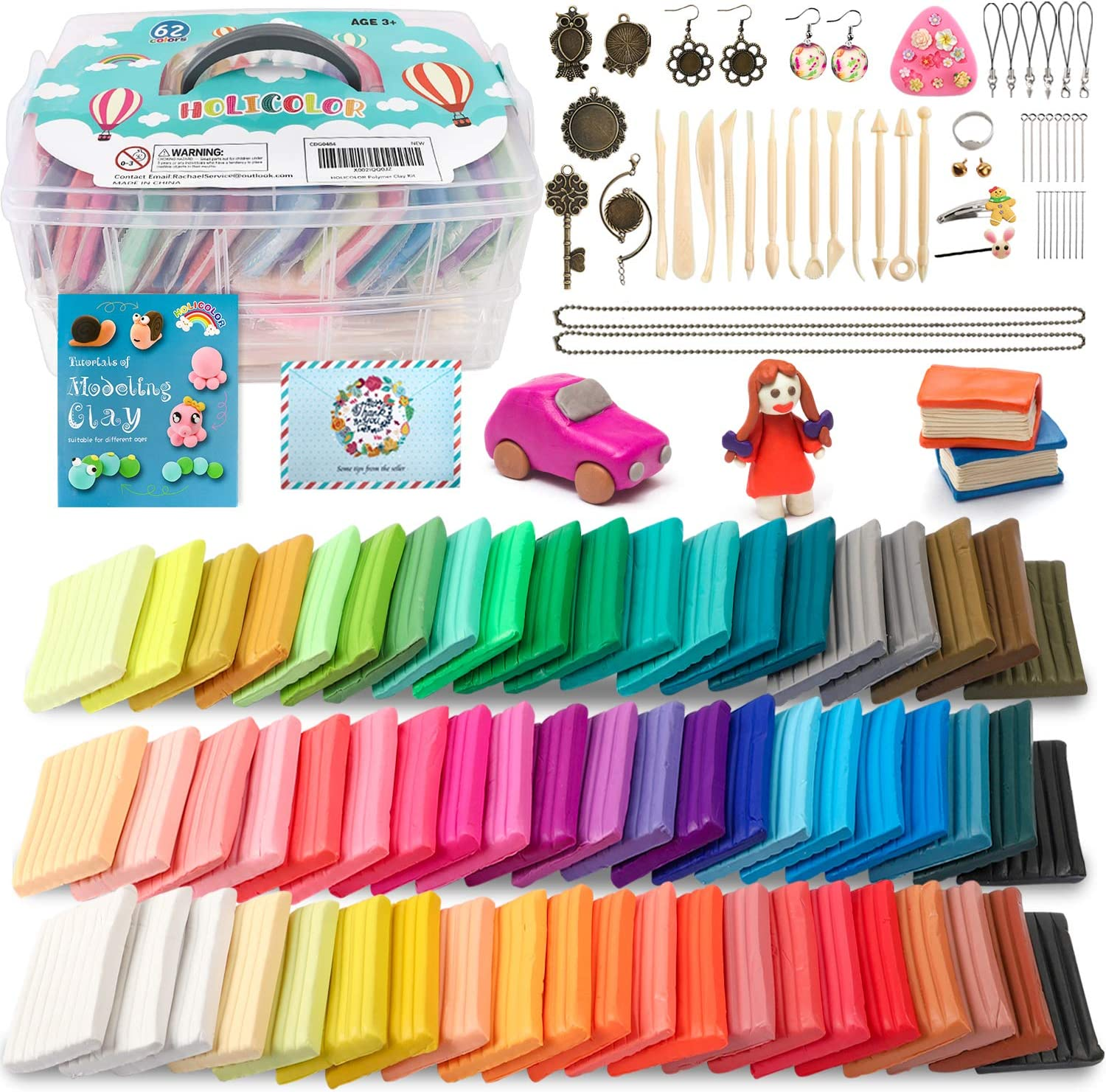 HOLICOLOR 62 Colors (1.4 Ounce Per Pack) Polymer Clay Includes Extra 1 White and 1 Black Oven Bake Clay with Accessories and 14 Sculpting Tools, Modeling Clay for Kids, Beginners and Expert Artisans