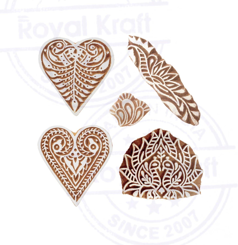 Set von 5 Royal Kraft Schick Designs Geometrisch und Rand Holz Bl/öcke f/ür Drucken