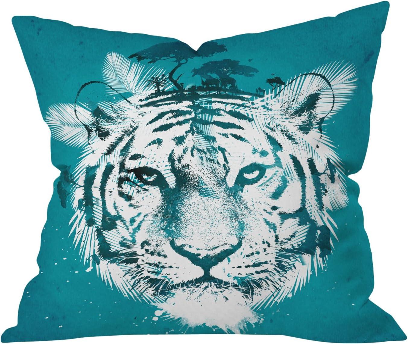 Deny Designs Robert Farkas White Tiger Throw Pillow, 26 x 26