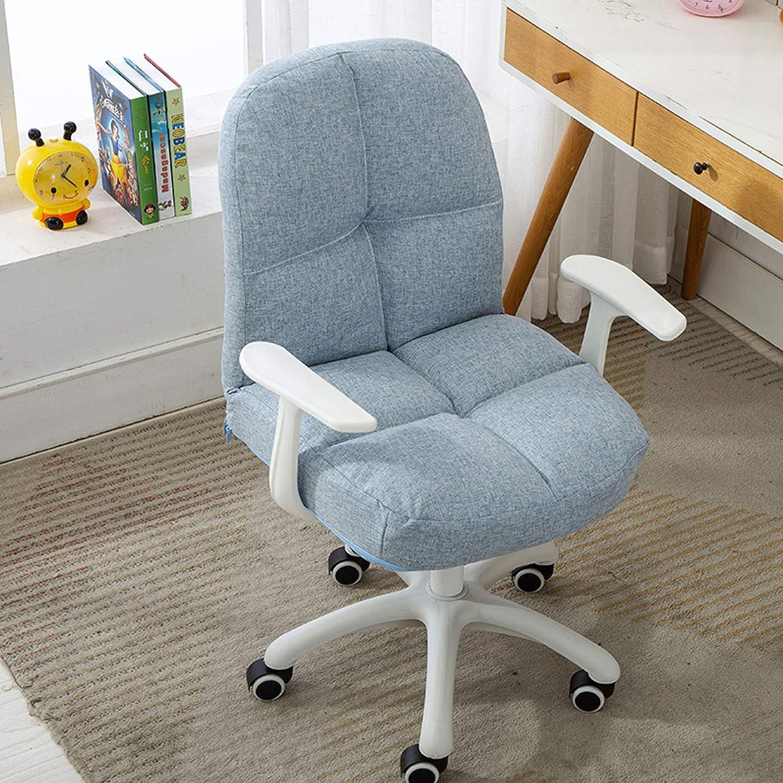 Dator svängbar skrivbordsstol ergonomisk svamp ryggstöd stol hem kontor stol med linne tyg armstöd justerbar höjd snygg sovrumsmöbler, 96 kg kapacitet, gul + kaki Ljusblått