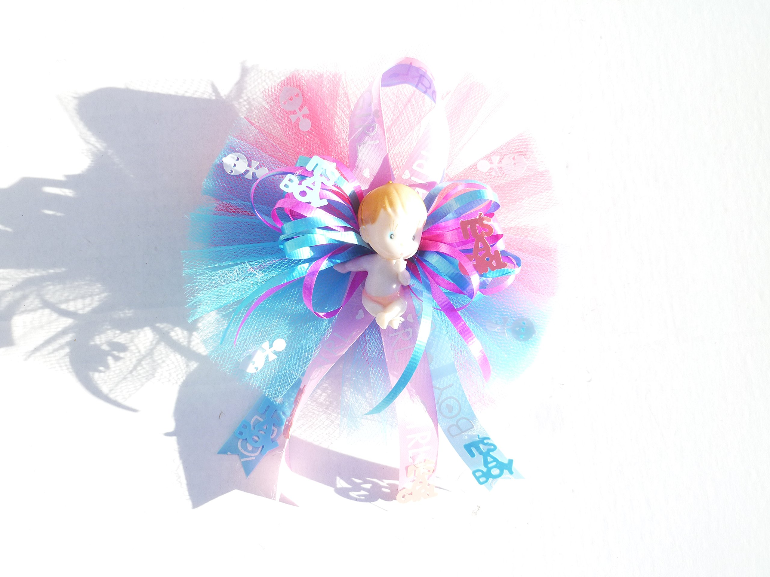 Gender Reveal Party It's Boy or Girl Baby Shower Themed Corsage for Grandma ,Aunt or Host ( Pink and Blue)
