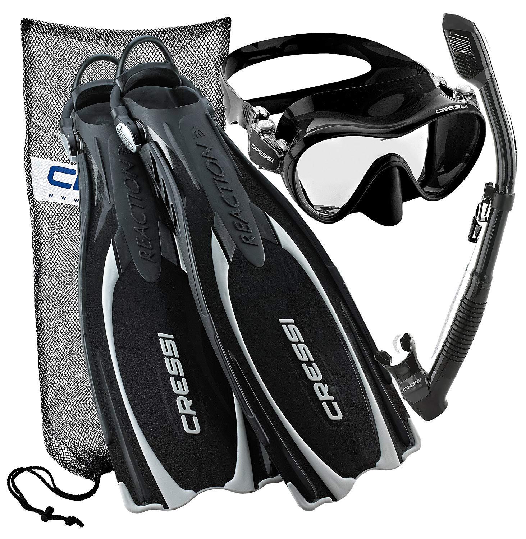 Cressi Reaction EBS Adjustable Mask Fin Dry Snorkel Scuba Gear Set, Black, Large/X-Large by Cressi