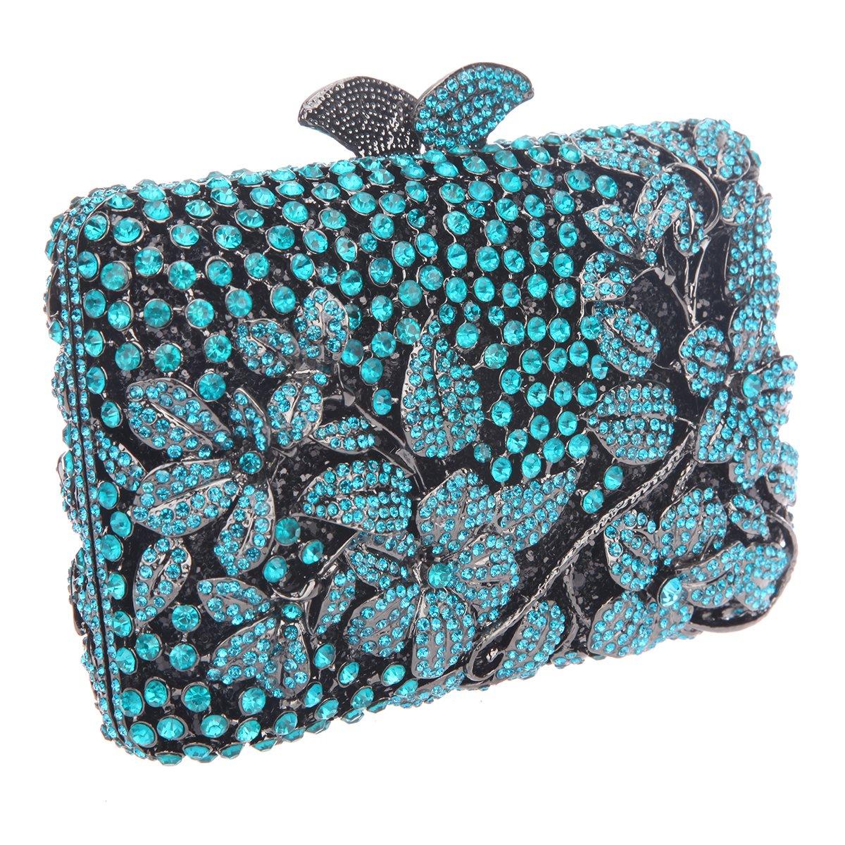 Bonjanvye Flower Kisslock Purses with Crystal Rhinestones Evening Clutch Bag Blue: Amazon.es: Equipaje