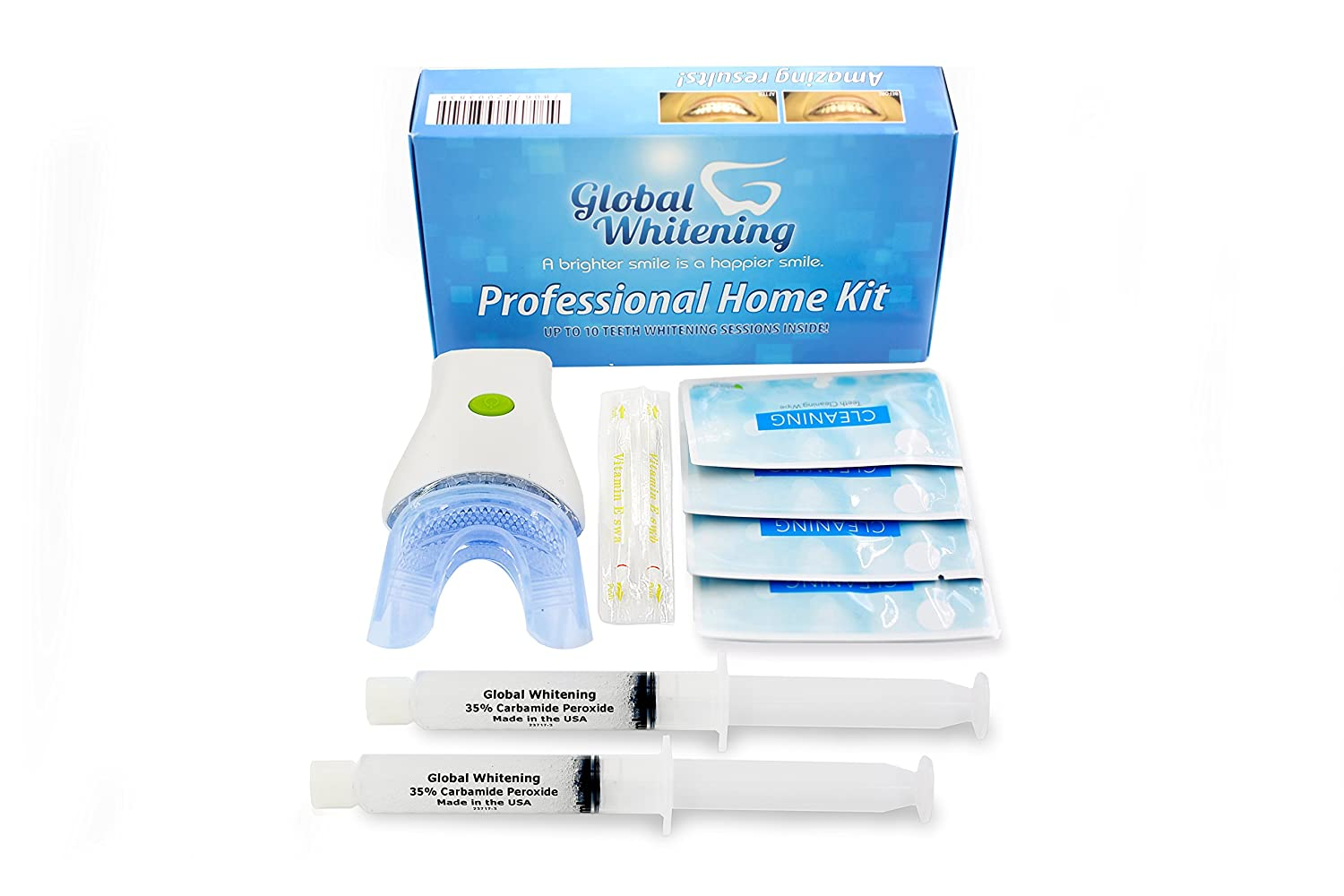 Global Whitening - Professional Teeth Whitening System Kit W/ 7 LED Blue Light Vibrating Brushing System - 35% Carbamide Peroxide - Made in USA
