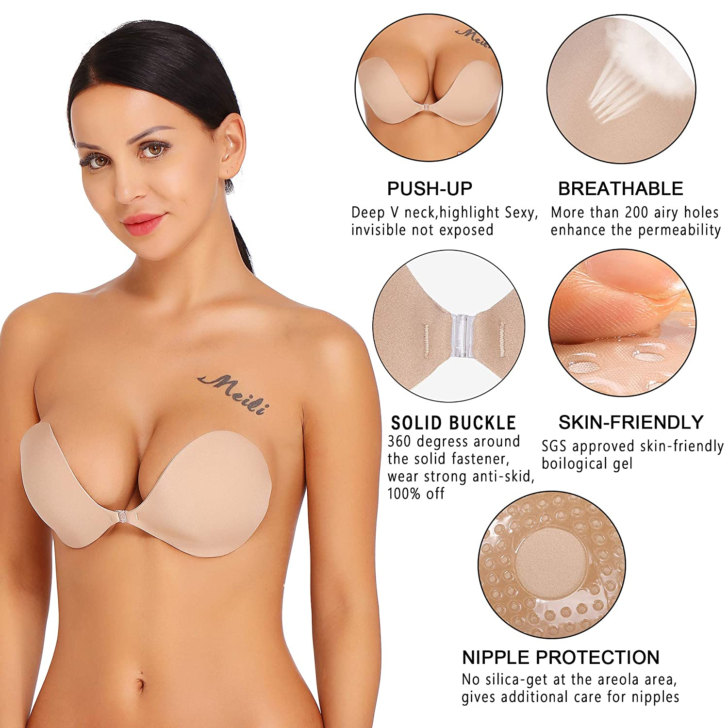 0d2af06f2cd47 Amorbella Reusable Sticky Bras Plunge Silicone Push Up Bra Invisible AB0021