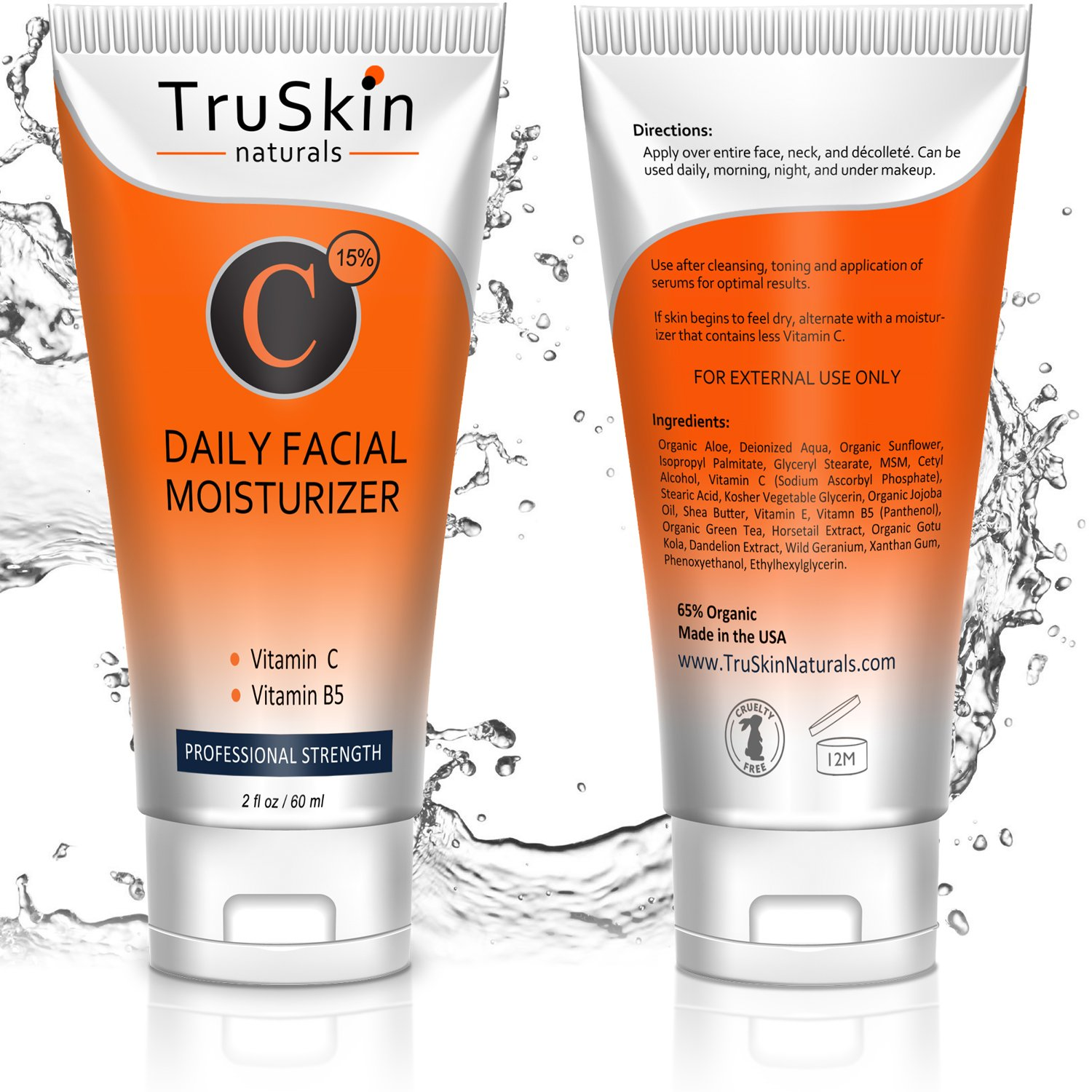 BEST Vitamin C Moisturizer Cream for Face, Neck & Décolleté for Anti-Aging, Wrinkles, Age Spots, Skin Tone, Firming, and Dark Circles. 2oz by TruSkin Naturals (Image #2)