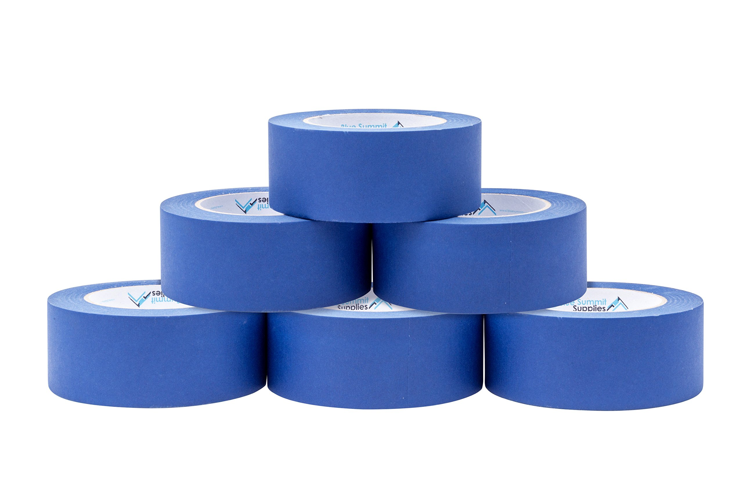 6 Pack 1.88 Inch Blue Painters Tape, Medium Adhesive That Sticks Well but Leaves No Residue Behind, 60 Yards Length, 6 Rolls, 360 Total Yards by Blue Summit Supplies