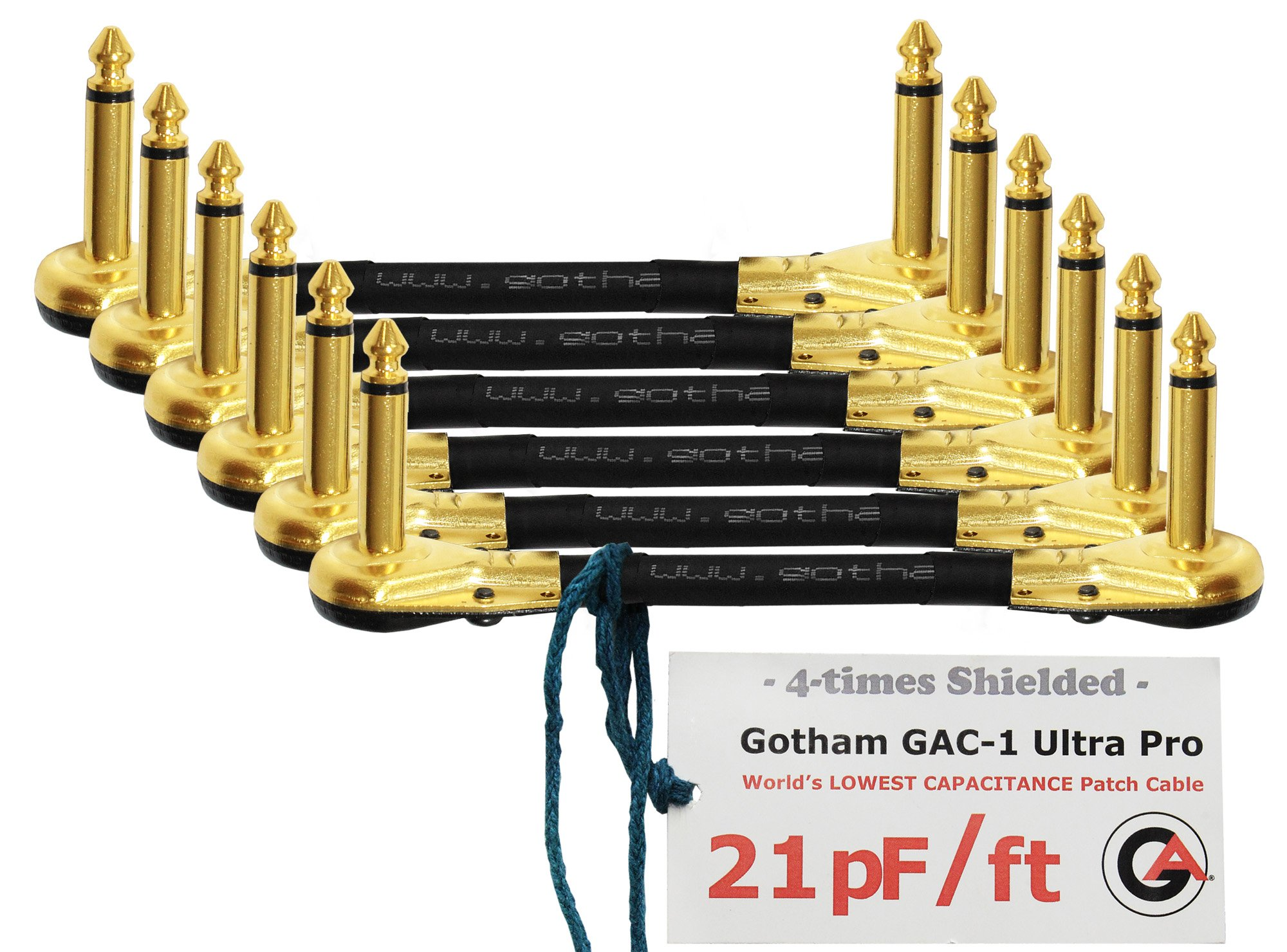 6 Units - 4 Inch - Gotham GAC-1 Ultra Pro - Low-Cap (21pF/ft) Guitar Bass Effects Instrument, Patch Cable & Gold (6.35mm) Low-Profile R/A Pancake type Connectors - CUSTOM MADE By WORLDS BEST CABLES