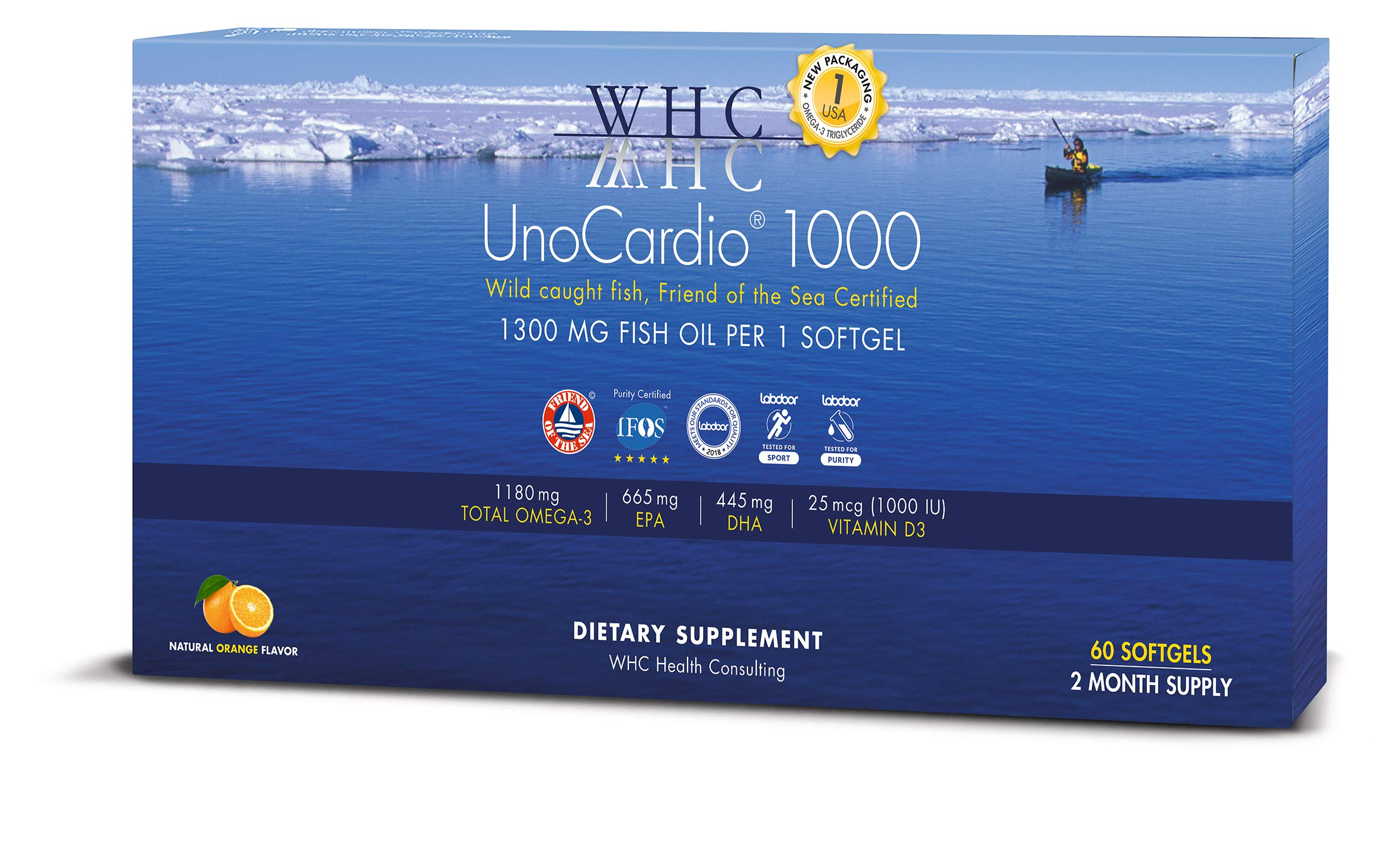 WHC - UnoCardio 1000 (60 Softgels) - 1300 mg of pure Triglyceride fish oil with high concentration omega-3 (1180 mg), 665 mg EPA and 445 mg DHA and 25 mcg (1000 IU) vitamin D3 per softgel by WHC