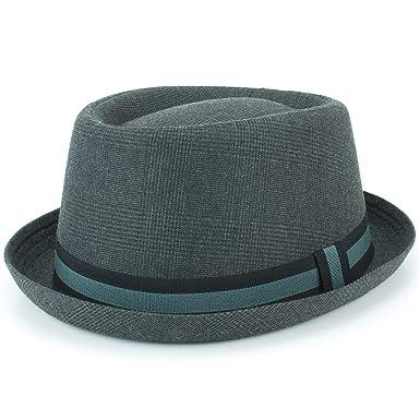29bebe88d92c9d Hawkins Grey Tweed Porkpie Hat Pork Pie Trilby Fedora: Amazon.co.uk:  Clothing