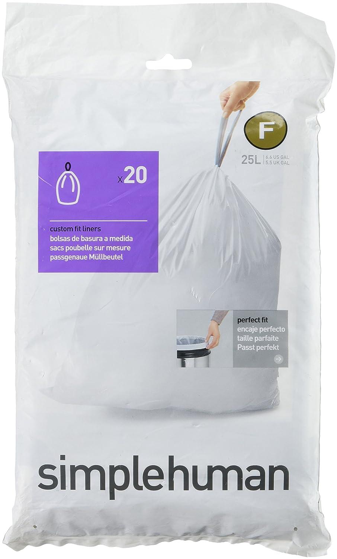 Amazon.com: simplehuman Custom Fit Trash Can Liner F, 20 ...