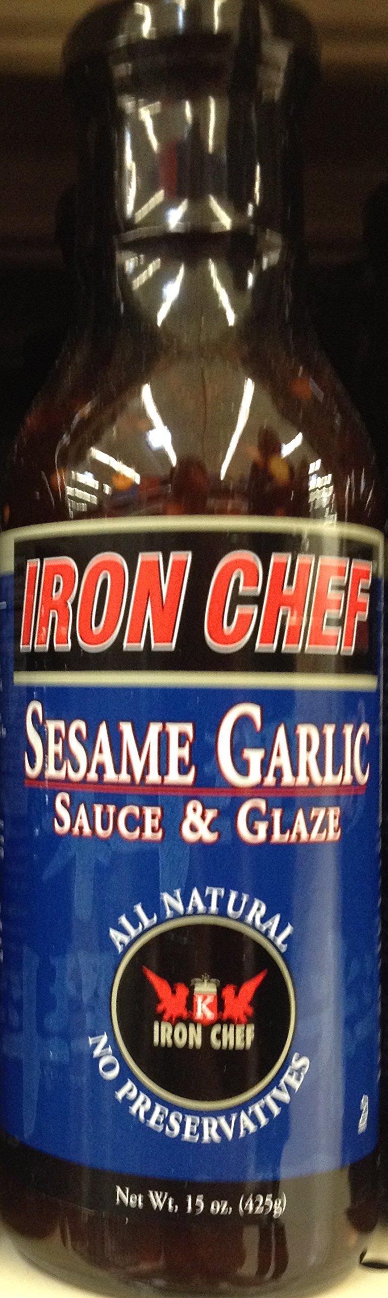 Iron Chef SESAME GARLIC SAUCE & GLAZE 15oz. (Pack of 5)