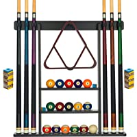 Billiards Xpress Pool Cue Rack - Pool Stick Holder Wall Mount With 16 Ball Holders & 6 Pack Of Chalk - Rubber Circle…