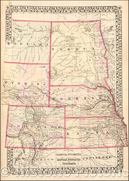 Amazon.com: Historic Map | County Map of Dakota, Wyoming ...