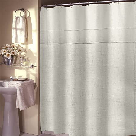 Veratex Pacifica Unlined Luxury Linen Shower Curtain Pearl Amazoncouk Kitchen Home