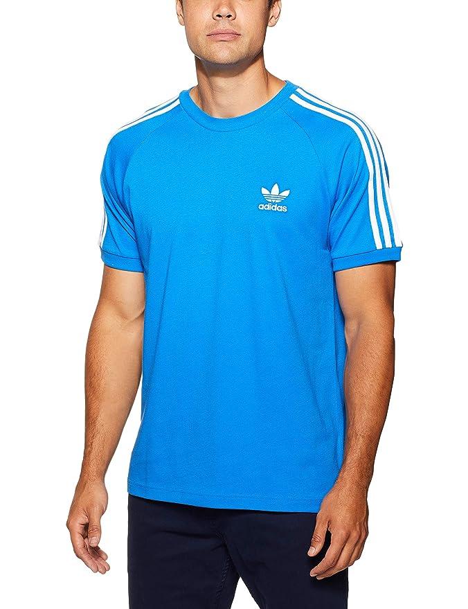 adidas Herren 3-Streifen Trainingsshirt T-Shirt Blau (Bluebird) mit weißen Streifen.
